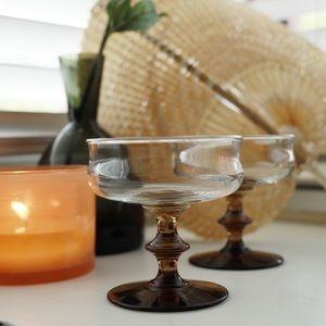 Vintage Brown Short Glass Champagne Flute,Set of 2